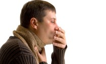 coughing sick man on a white background